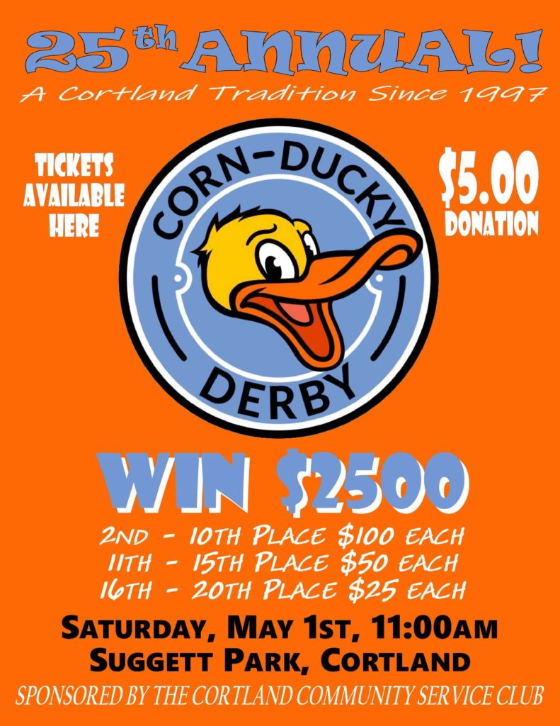 Join us on Saturday, May 1st at 11am for the Corn-Ducky Derby!